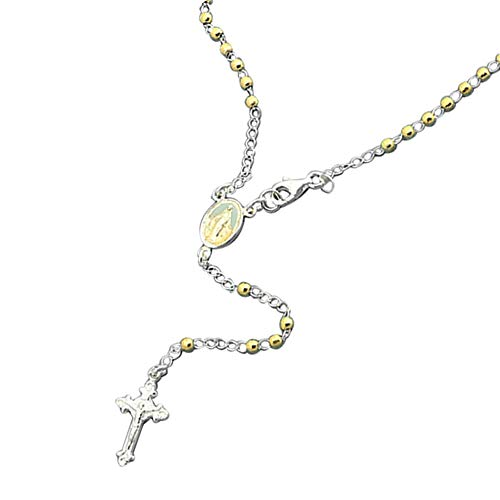 14K Yellow Gold Plated Sterling Silver Rosary Necklace 2.5mm DC Bead Cross Rosary Chain (18~26 Inches), 20