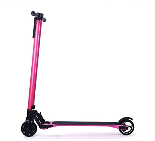 The World Lightest Weight Two Wheels Electric Kick Scooter Foldable Electric Carbon Fiber Scooter-20 KM per charge-LG battery-25MPH Speed (Hot pink) by Cellot