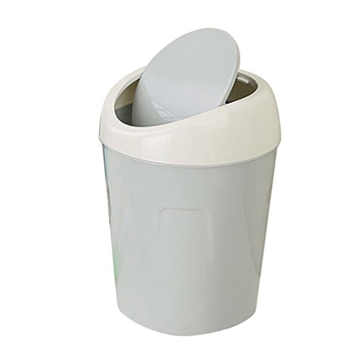 - Amiley Desktop Trash Can with Lid Roll Cover Mini Wastebasket Kitchen Living Room Car Waste Can (Light blue)