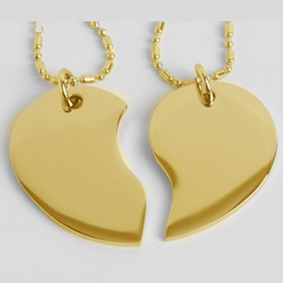 Engraved Couple's Split Heart Tear Drop Shaped Gold Necklace Set Personalized Free by aandlengraving (Image #3)