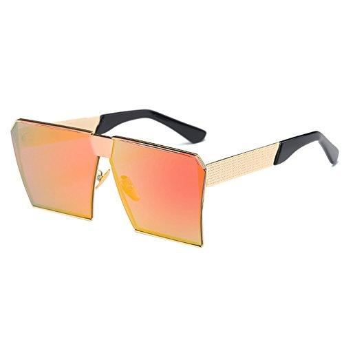 Street Fashion Unisex Red Luxury Square Oversize orange Women Gold Special UV Sunglasses Men Glasses Sunglasses Protection Lens Eyewear Sun Frame UvBxdqP