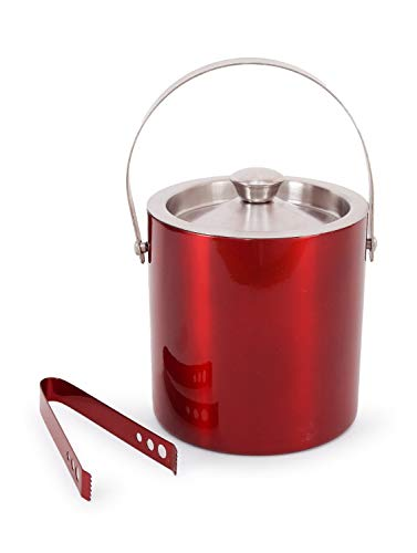 (King International 100% Stainless Steel Red colored Bar Set | Bar Tools | Bar Accessories Set of 2 Pieces | Ice Bucket | Ice Tong- Ideal for Gifting Party and)