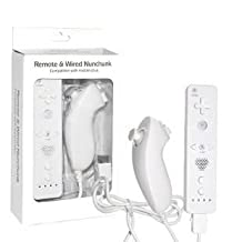Remote Controller Wired Nunchuk Wii WiiWare Seamless Gaming Better Movement (White)