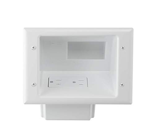 DataComm Electronics 45-0071-WH Recessed Low Voltage Mid-Size Plate with Duplex Receptacle