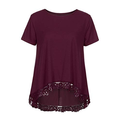 ◐OFEFAN◑ Women's Tops Short Sleeve Lace Trim O-Neck A-Line Tunic Blouse Wine]()