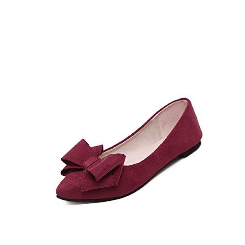 Primavera punto zapatos planos luz/Arco negro zapatos de trabajo vino tinto