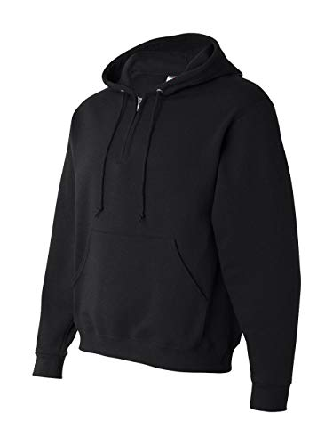 Jerzees Mens NuBlend 50/50 Fleece Quarter-Zip Pullover Hood (994MR) -BLACK -XL