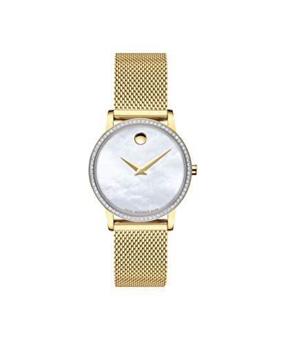 Movado Museum Classic, Yellow Pvd and Diamond Case, White Mother of Pearl Dial, Yellow Pvd Mesh Bracelet, Women, 0607307