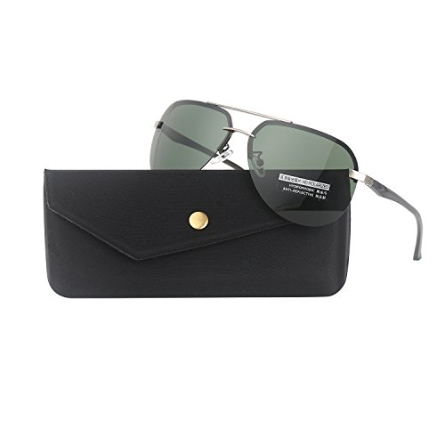 G-YOO Men Aviator Sunglasses Polarized Women - UV 400 with case 64MM (Gun/Blackish - Sunglasses 64mm