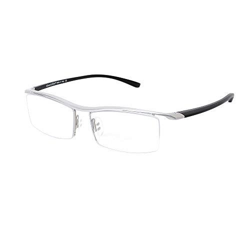 (Eileen&Elisa Pure Titanium Blue Light Blocking Glasses for Men, Half Rimless Computer Eyeglasses for Women)