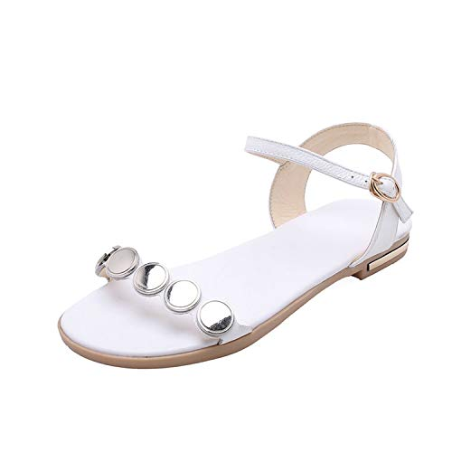 Women Sandals Flat Heel Cow Leather+PU Round Open-Toed Buckle,White,4