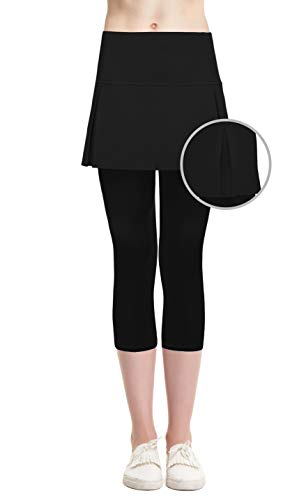 Cityoung Women's High Waist Tennis Skirted Capri Leggings Lightweight Athletic Skort Cropped Pants 4 bk Black