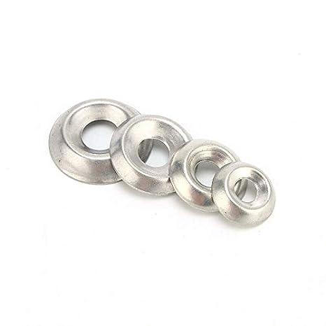 BE-TOOL 6#8#10#12# arandelas de acabado para tornillos de cabeza avellanada y tornillos autorroscados 120 unidades Arandelas de copa de acero inoxidable