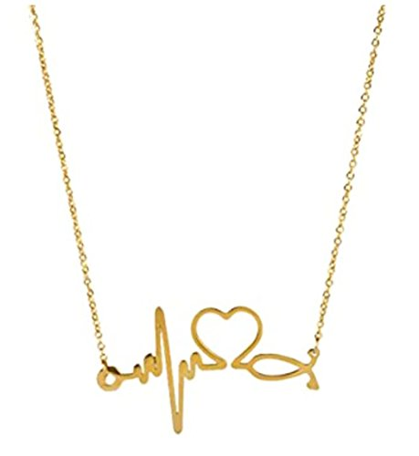 SXNK7 Stainless Steel Gold Silver Heartbeat Cardiogram ECG Pendant Stethoscope Chokers Necklace