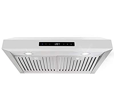 Cosmo UMC30 30-in Under-Cabinet Range-Hood 760-CFM Ductless Convertible Duct, Wireless Kitchen Stove Vent, LED Light, 3 Speed Exhaust, Fan Timer, Permanent Filter, (Stainless Steel)