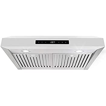 Cosmo UMC30 30-in Under-Cabinet Range Hood 760 CFM Ductless Convertible Duct, Kitchen Stove Vent, LED Light, 3 Speed Exhaust, Fan Timer, Permanent Filter, (Stainless Steel)