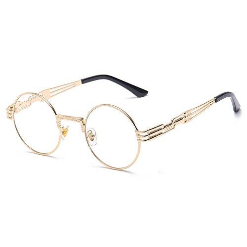Double white Frames Protection Steampunk Prince Sunglasses Spring Unisex Frame Metal Round Sunglasses Fashion Sunglasses Mirror Frame Eyeglasses Gold Lens UV Eyewear Svvg4