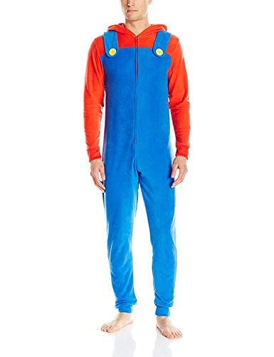 Super Mario Men's Faux Fur Licensed Sleepwear Adult Costume Union Suit Pajama, Mario Suit, Size Large/X-Large ()