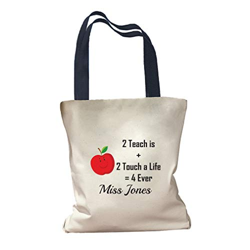 Personalized Custom Text Teacher Apple 2 Teach 2 Touch life 4ever Cotton Canvas Colored Handles Tote Bag - Navy
