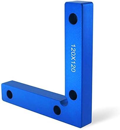 直角補助器具90度位置決めブロック固定クリップL字型定規木工大工道具-青