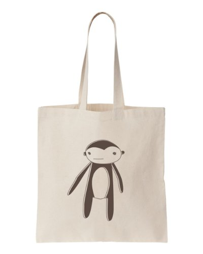 (Natural Cotton Tote with Rag Doll Monkey Print)