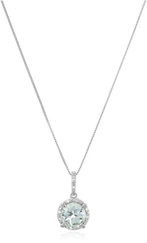10k White Gold Round Aquamarine and Diamond Accent Pendant Necklace, 18'' by Amazon Collection