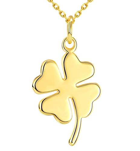 Cutesmile Fashion Jewelry 18K Gold Cute Lucky Four Leaf Clover Adjustable Pendant Necklace