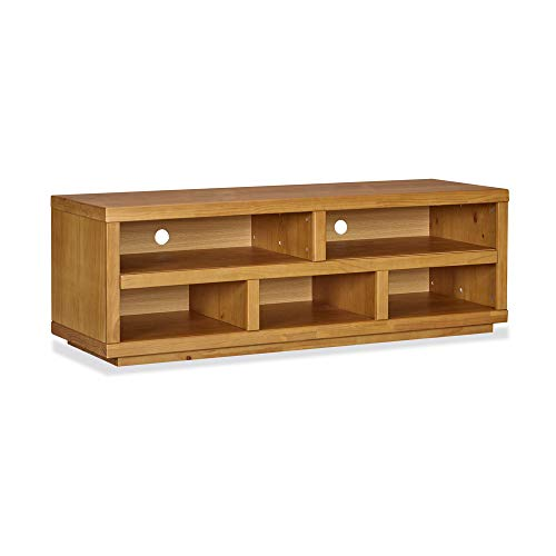 MUSEHOMEINC Rustic Wood TV Stand/Media Console with 5 Storage Shelf for Living Room/Modern Entertainment Center Console/TV Sides Up to 65 Inch/Multipurpose Home Furniture, Oak Finish ()