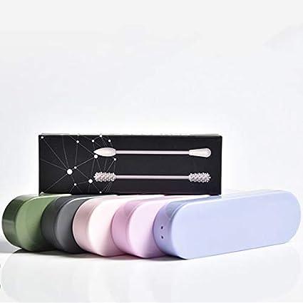 aus Silikon f/ür die t/ägliche Reinigung von Make-up-Sticks mit Aufbewahrungsbox Wiederverwendbare Wattest/äbchen aus Baumwolle mit doppeltem /ökologischem Kopf Schwarz
