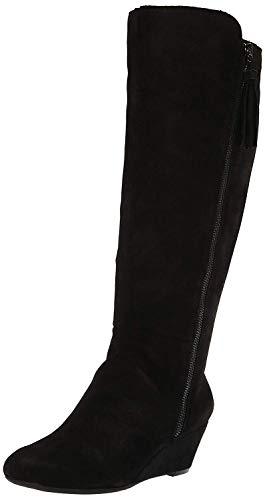 Anne Klein Women's Alanna Wedge Boot Knee High, Black/Black, 5.5 Medium/Wide Shaft US