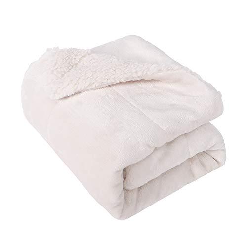 (EMME Baby Blanket Fuzzy Sherpa Fleece Blankets Soft Warm Receiving Blankets for Toddler, Infant, Newborn, Boys and Girls Gift Reversible Cozy Blanket for Crib, Stroller, Nap, Outdoor, Decor (White))