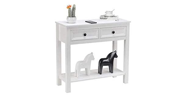 Amazon.com: AK Energy White 2 Drawer Console Table Modern ...