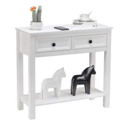 Astonishing Amazon Com Ak Energy White 2 Drawer Console Table Modern Theyellowbook Wood Chair Design Ideas Theyellowbookinfo