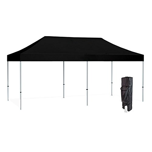 Vispronet 10x20 Black Canopy Tent Kit – Resists up to 30mph Wind Gusts – Includes Commercial Grade Aluminum 10ftx20ft Tent Frame, Water-Resistant Canopy Top, Roller Bag, and Stake Kit
