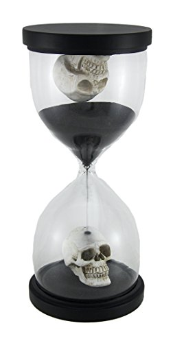 Resin And Glass Timers 10 Inch Tall Gothic Skulls Sand Timer Hourglass 4.5 X 10 X 4.5 Inches Black by Zeckos