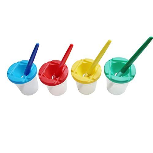 IslandseSpill Proof Paint Cups 4pcs Non Spill Paint Cup + 4pcs Paint Bristle Brush Assorted Color