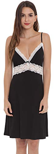 LazyCozy Women's Bamboo Nightgown Full Lace Chemise, Black with White Lace, Large
