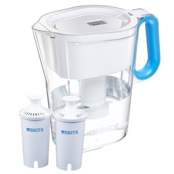 Brita Wave Filtered Water Filter Pitcher 10 Cup Capacity Includes 2 Filters Various Colors (White-Blue Handle) (Brita Filters 8 compare prices)
