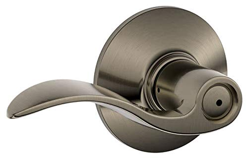 Schlage F40ACC620 Accent F40 Flat Wave Reversible Door Lever Lockset, Solid, Antique Pewter Brass