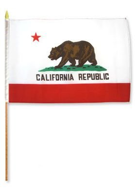 (12x18 inch California flag mounted on a 24 inch (2 Foot) wooden stick staff (Super Polyester) Cloth Fabric (Sewn Edges for Durability) 12