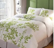 3 Piece 300 Count Natural Woods Queen Duvet Cover Set, White Granny Smith Apple Green Lime Trees Leaves Nature, Relaxing Decorative Soft Peace Cozy Printed Sateen Weave Comfort