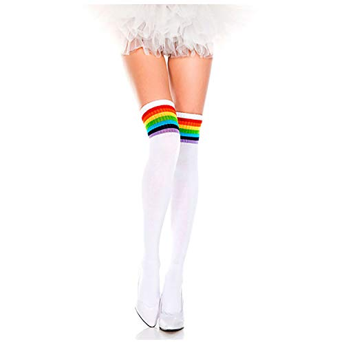 EPIEUREKA Trendy Knit Striped Over Knee High Socks Womens Girls Athletic Thigh High stockings (One Size, White/Rainbow Stripe)