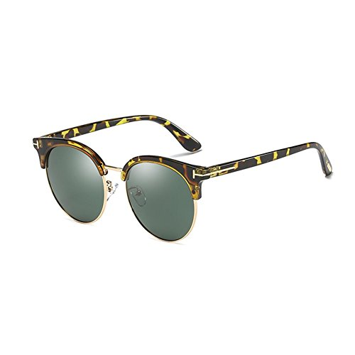 (LIZHIQIANG Sunglasses Women UV Retro Polarized Round Face Sunglasses Polarized Mirror Driving Mirror Lens (Color : Frames - Ink Green))