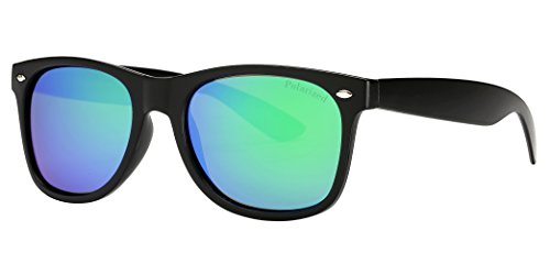 636316cecc44 X - Polarized 7110 RV Color Lens Retro Classic Sunglasses (Black   Emerald  Green Lens