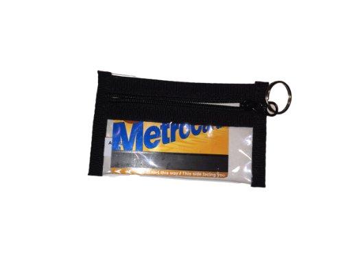 """Zipper See Through Bag Key Chain Card or Coin Pouch 5"""" X 3"""""""