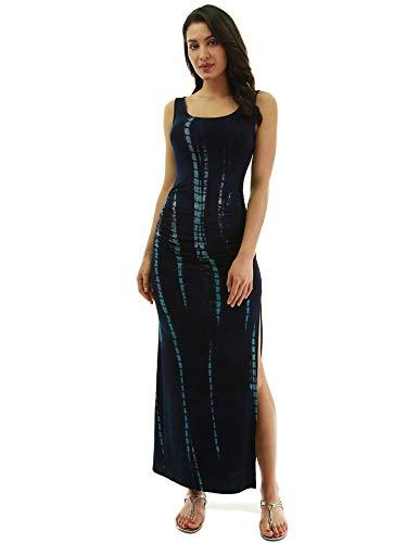 PattyBoutik Women Sleeveless Summer Maxi Dress (Navy Blue and Turquoise 50 X-Large)