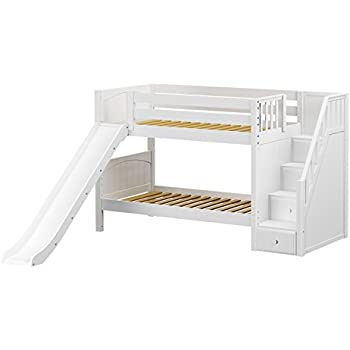 Amazon Com Maxtrix Solid Hardwood Twin Twin Low Bunk Bed With