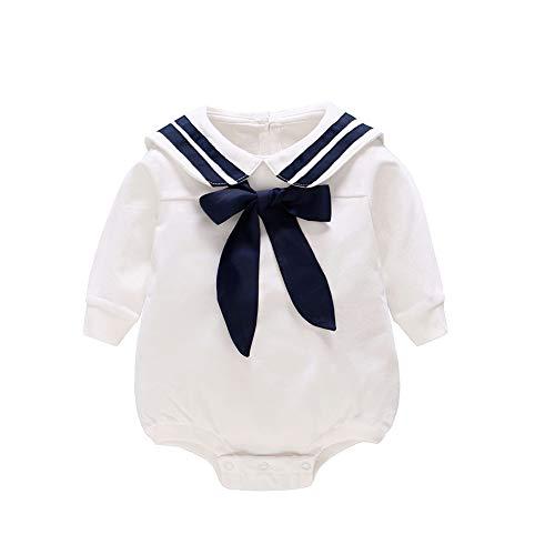 (JooNeng Baby Romper Long Sleeves Infant Jumpsuit Clothes Cotton Naval Sailor Style,White6-9M)