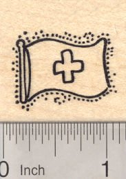 Flag of Switzerland Rubber Stamp. Swiss National Flag, White Greek Cross