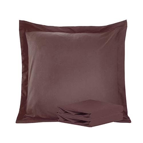 NTBAY 100% Brushed Microfiber Pillow Shams Set of 2, Soft and Cozy, Wrinkle, Fade, Stain Resistant (Chocolate, Euro 26